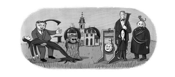 Charles Addams Doodle zum 100.Geburtstag